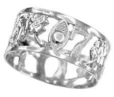 White Gold Lucky Ring Owl, Elephant, Horseshoe, Seven, Evil Eye, Flower