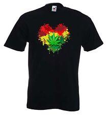 RASTA HEART T-SHIRT - Reggae Bob Marley Marijuana Cannabis Jamaica - Size S-XXXL