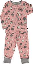 SMAFOLK Schlafanzug Pyjama rosa grau Nachtmotive 92 98 104 110 116 122 128 NEU
