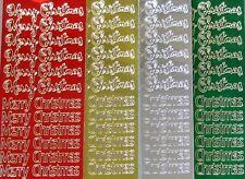Metallic Shimmer MERRY CHRISTMAS PEEL OFF STICKERS Shiny Cardmaking Sticker