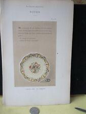 Vintage Print,ROUEN 16,Faience,1872,French,Litho