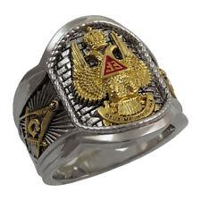 Scottish Rite 33 Degree Masonic Ring Gold 18K Pld Knights Templar by UNIQABLE