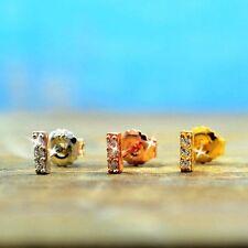 14k Amarillo Blanco Rosado Oro sobre 925SS Diamante Alternativas Barra 6mm