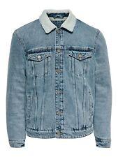 Only & Sons Mens Denim Jacket Fur Collar Fleece Lined Winter Fashion Jean Coats