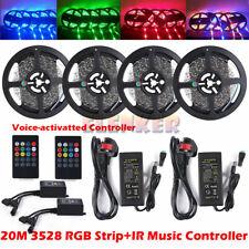 5M 10M 20M 3528 RGB LED Strip Lights Tape + 20K Music IR Remote + 12V UK Power