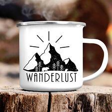 Campingbecher Wanderlust Abenteuer CB315 Outdoor Emaille Kaffee Becher Fernweh