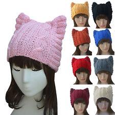 Cute Meow Ear Kitty Woman Wool Autumn/Winter Handmade Knit Cap Beanie Hat A004
