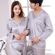Women men Soft Silk Satin Sleepwear Nightwear Set Long Sleeve Pajamas Loungewear