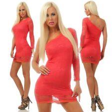 3429 Damen Minikleid Kleid Partykleid Cocktailkleid One-Shoulder Spitze Dress
