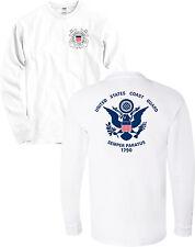 US Coast Guard Flag USCG Seal Long Sleeve Front & Back Shirt - NEW
