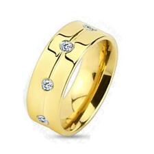 AF Titan Ring gold 6-8mm breit mit 8 Steinen farblos 47 (15) - 66 (21)