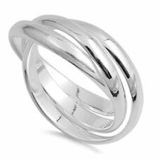 Women Silver Plain Russian Wedding Ring Trinity Interlocking Rolling Band 9mm