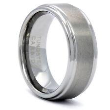 Mens Tungsten Carbide Silver Tone 2-Cut Edge Wedding Band Ring Size 8 9 10 11 12
