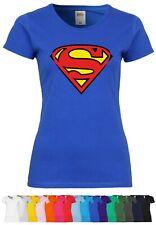 M91 F288N Damen T-Shirt mit Motiv Superman   Comic Superheld Fun Design Party
