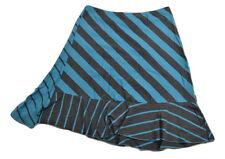 Billabong DAZED Blue Grey Striped Ruffle Bottom Elastic Waist (D) Junior's Skirt
