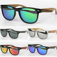 Polarised Bamboo Dark Wood Temples Square Mens Womens Sunglasses UV400