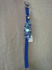 "Brand New Dog/Cat Collar Blue Jewel Charms Beaded 9"" Adjustable"
