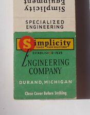 1950s Matchbook Simplicity Engineering Company Equipment Coal Industry Durand MI
