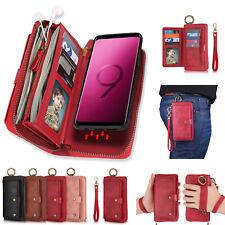 Flip Zipper Purse Case Leather Detachable Wallet Magnetic Fr Galaxy Note 9 S9 S8