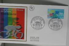 ENVELOPPE PREMIER JOUR SOIE 1989 CYCLISME ARC-EN-CIEL