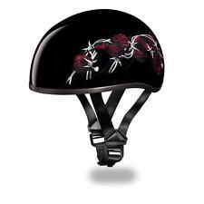 New Daytona Helmets Skull Cap W/ BARBED ROSES DOT Motorcycle Helmet D6-BRO