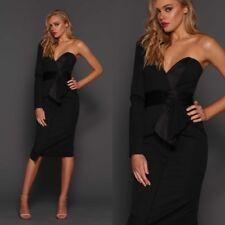 Elle Zeitoune One Shoulder Corset Cocktail Party Midi Long Sleeve Black Dress UK