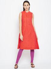 Sleeveless Cotton Kurti Dress Assorted Woven Design A-Line Kurta Knee Length