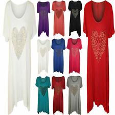 Ladies Animal Gold Heart Studded Hanky Hem Tops Womens Short Sleeve Shirt Top