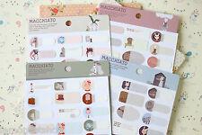 Cartoon Name Label Stickers cute Macchiato Bunny Rabbit planner diary sticker