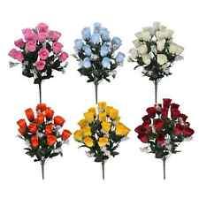 2 x Artificial Rosebud Bush - 18 Silk Rose Heads - 8 Different Colours