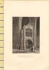 c1790 ANTIQUE GEORGIAN PRINT ~ PETERBOROUGH CATHEDRAL ~ WEST END PORCH