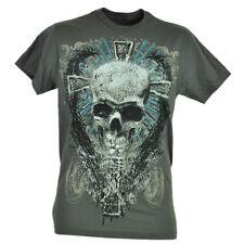 Fifth Sun Skull Cross Skeleton Graphic Gray Tshirt Novelty Brand Tee Shirt