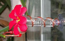 HAND CRAFTED. Copper Window Mount Hummingbird Feeder. Realistic Plumeria Flower