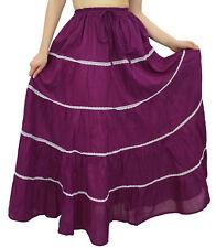 Bimba Women's Long Plum Flared Cotton Skirt Elastic Waist Wear Clothing