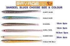 SAVAGE GEAR SANDEEL SLUGS GAME COARSE SEA FISHING SAND EELS SAND EEL BASS LURES