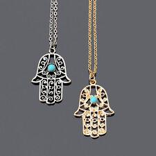 Hamsa Fatima Hand Anhäger Gold oder Silber mit blauen Stein