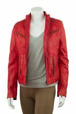 Ladies Red Napa Croc Effect Leather Slim Tight Fitted Short Biker Jacket Bike