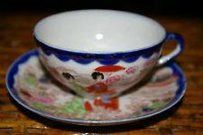 2 SETS JAPANESE GEISHA GIRL PORCELAIN CUPS AND SAUCER COBALT BLUE TRIM PARASOL B