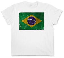 BRAZIL FLAG VINTAGE LOGO T-SHIRT Brasil Brasilien Banner Fahne Flagge WM Retro