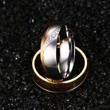 Women Men Stainless Steel 18K Gold Wedding CZ Band Ring