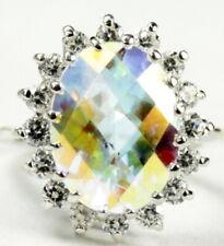 • R310, Mercury Mist Topaz, 10k White Gold, Royal Engagement Ring -Handmade