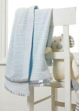 100% COTTON CELLULAR COT BED PRAM MOSES CRIB BASKET BLUE COLOUR BLANKET