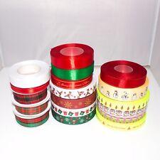 Christmas Ribbon Craft DIY Satin Plain Print Decoration Tape Sold per Metre