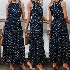 Womens Summer Beach Long Dress Holiday Sleeveless Evening Party Dresses Hoc