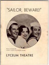 "Playbill ""Sailor, Beware!"" 1934 Audrey Christie"