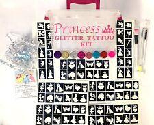 GLITTER TATTOO PRINCESS KIT 144 stencils 8glitter STORAGE BOX PERSONALISED FREE