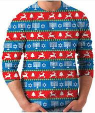 Adult Tacky Ugly Christmas Sweater Hanukkah Star of David Tree Reindeer Print