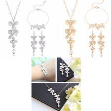 Women's Orchid Flower Pendant Necklace Earrings & Bracelet Jewellery Set Gift UK