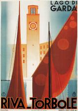 TV16 Vintage 1930's ITALIANO ITALIA LAGO GARDA RIVA TORBOLE TRAVEL poster A2 A3