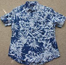 Ralph Lauren Button Down Shirt L XL Hibiscus Linen S/S $98 FREE NWT Men's Floral